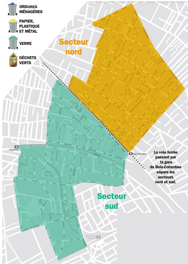 Plan des secteurs de collecte